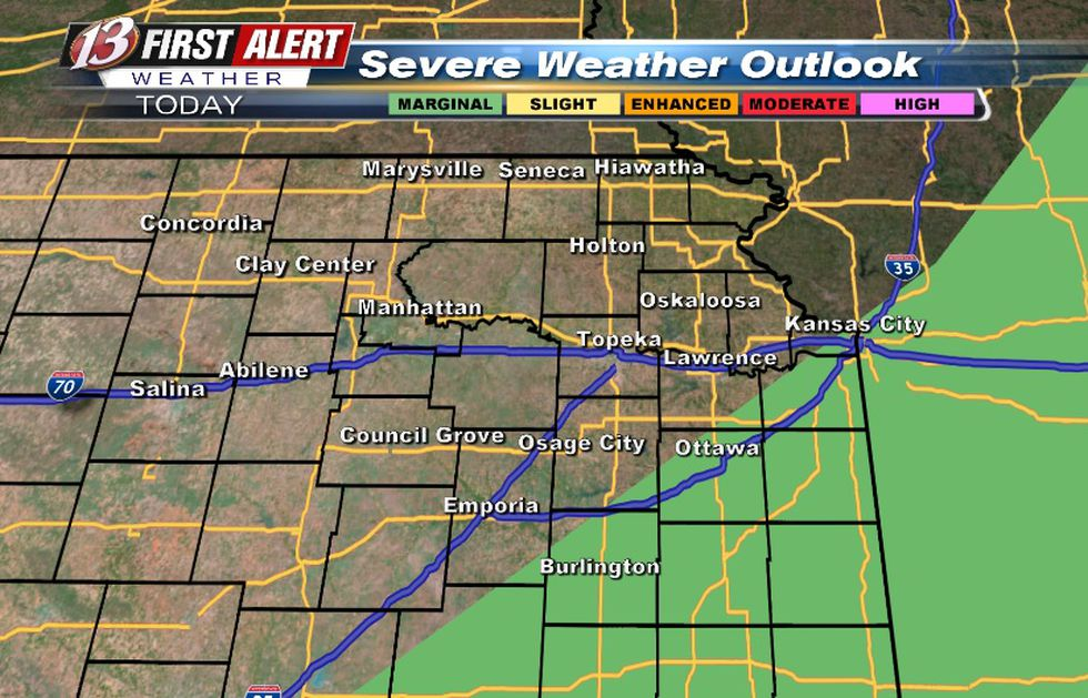 Conditional risk for storms Tuesday afternoon. Risk for hail/wind.
