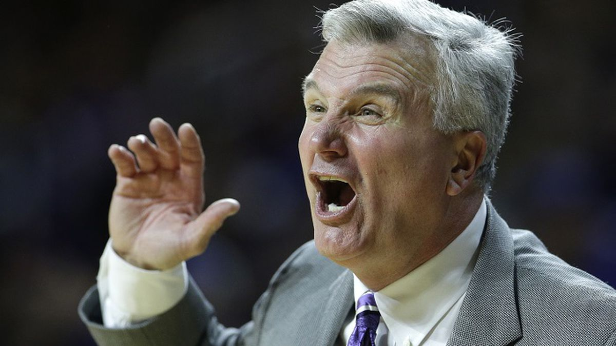 Kansas State head coach Bruce Weber talks to his players during the first half of an NCAA college basketball game against TCU Saturday, Jan. 20, 2018, in Manhattan, Kan. (AP Photo/Charlie Riedel)