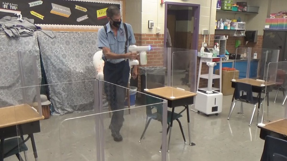 TPS sprays down surfaces, uses UV lights, and uses a fogger device to keep their classrooms...