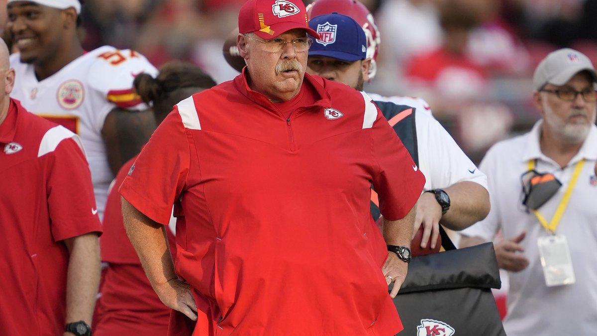 Kansas City Chiefs head coach Andy Reid watches during the first half of an NFL preseason...