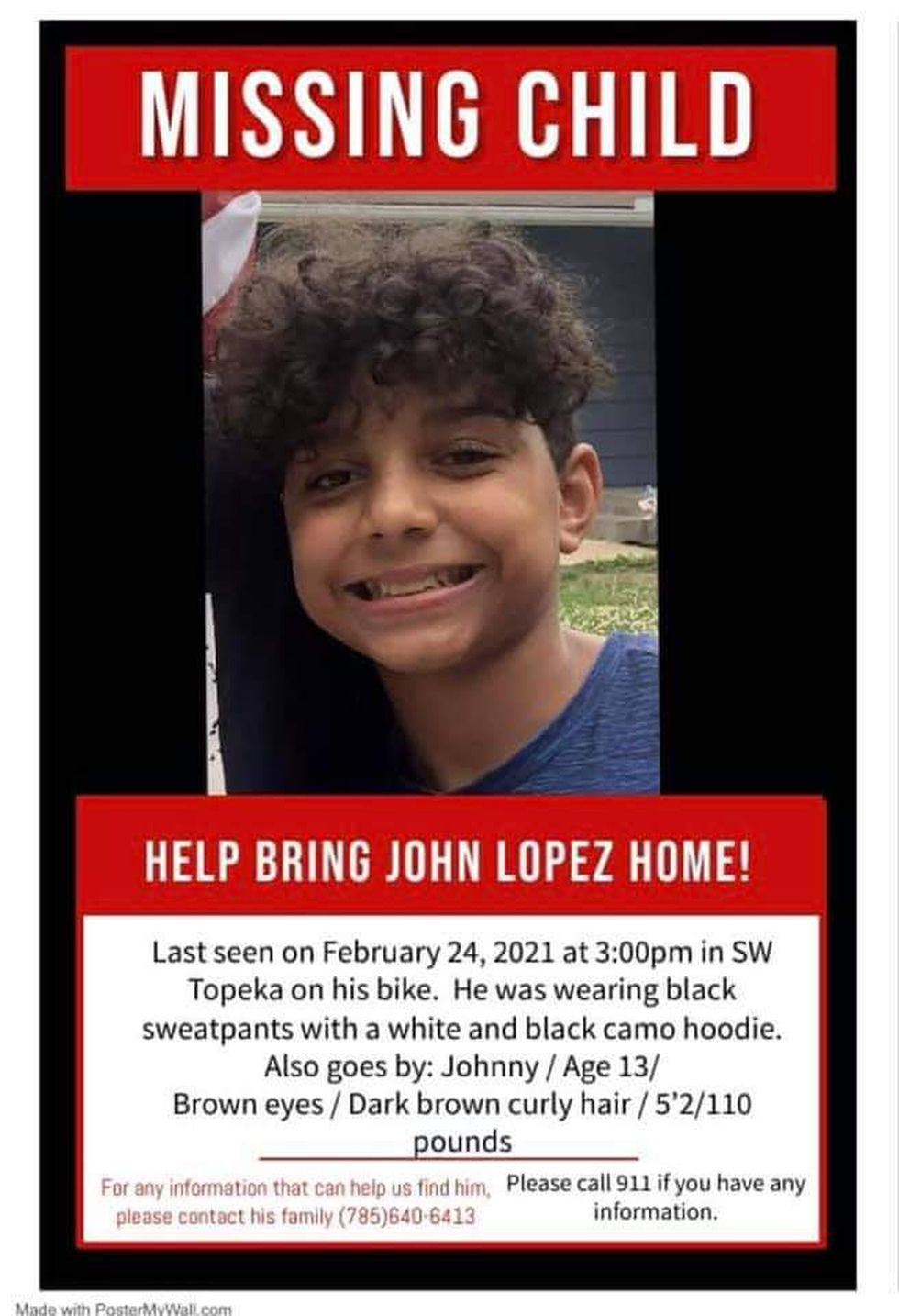 John Lopez has been reported to TPD as a runaway.