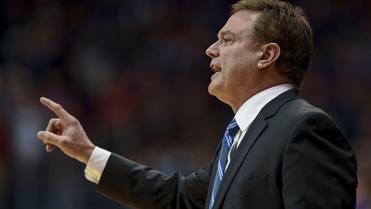 Kansas Jayhawks head coach Bill Self watches his team against the Kansas State Wildcats during...