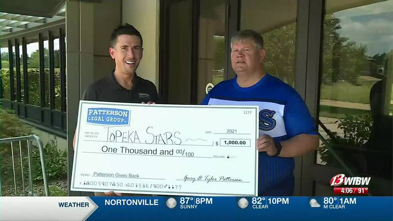The Special Olympians can use the check to help them compete nationally.