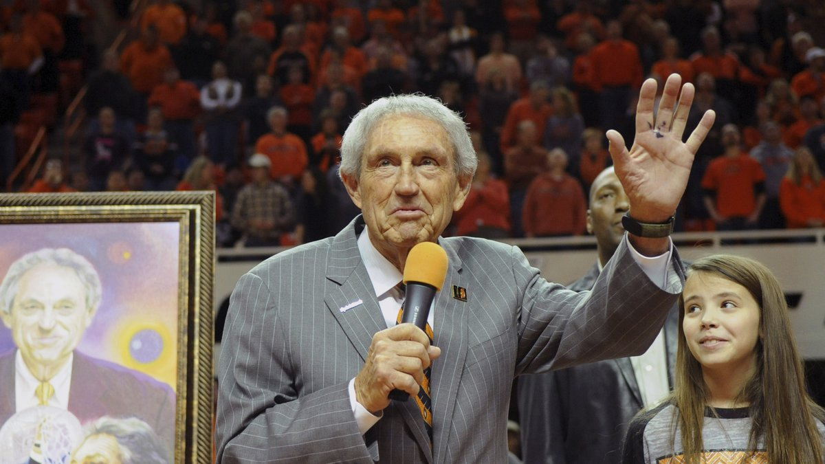 FILE - In this Monday, Feb. 3, 2014, file photo, Eddie Sutton, head coach at Oklahoma State...