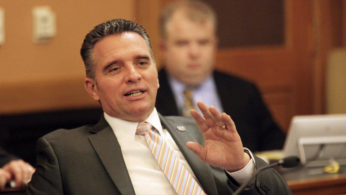 FILE - Kansas Senate President Ty Masterson, R-Andover, speaks to fellow GOP senators during a...