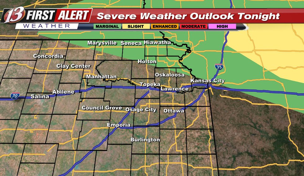 Hail/wind risk with any storms that will be in this area