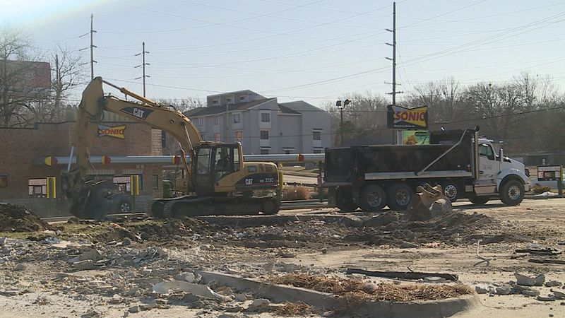 Crews clearing area on 29th and Gage for new Scooter's Coffee