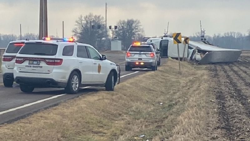 A tractor-trailer rig tipped on Hwy. 24 in Jefferson Co. Thursday, Jan. 7, 2021.