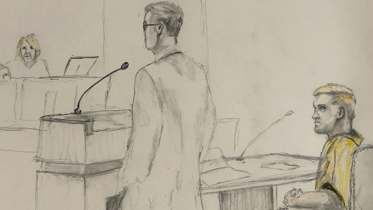 Spec. Jarrett Smith appears in a federal courtroom in Topeka, Kan. on September 26, 2019 (Sketch by Alexander Lancaster)