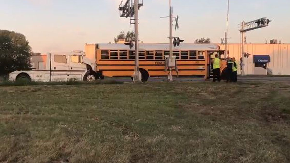 4 students suffer minor injuries in school bus crash at Dora and Meridian in southwest Wichita.
