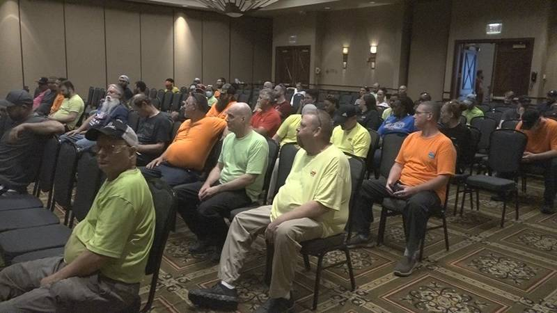 Members of the local Baker's union awaiting a vote to strike Frito-Lay on Saturday, June 26,...