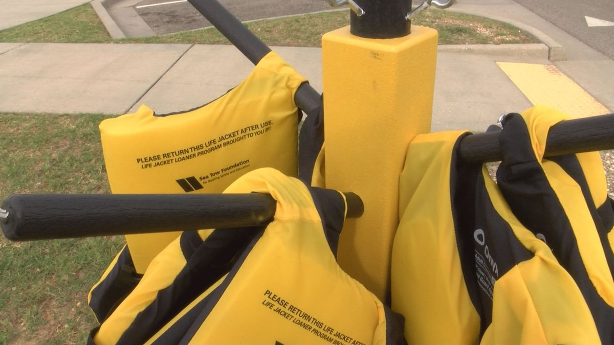 Riemann Funeral Home set up life jacket loaner station in Gulfport. (Photo Source: WLOX