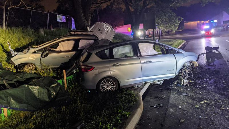 One died after their vehicle slammed into a tree in the Kansas City area forcing it to split...