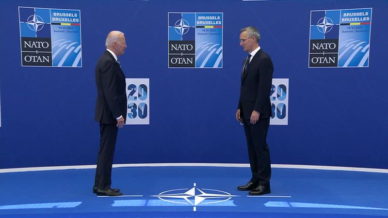 """Biden tells NATO allies, """"America is there,"""" as the allies tackle topics from cybersecurity to..."""