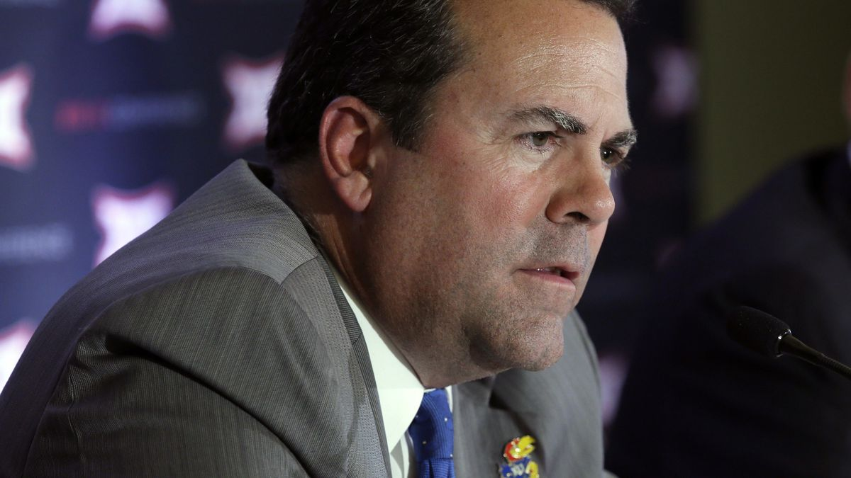 """FILE - In this June 1, 2016,file photo, Kansas athletic director Sheahon Zenger is shown at the Big 12 sports conference meeting in Irving, Texas. The University of Kansas has fired athletic director Sheahon Zenger, with Chancellor Douglas Girod saying that """"progress has been elusive"""" in some areas of the program. Girod announced Monday, May 21, 2018, that he relieved Zenger of his duties, effective immediately and elevated deputy director Sean Lester to take his place as interim athletic director while the university searches for a replacement. (AP Photo/LM Otero File)"""