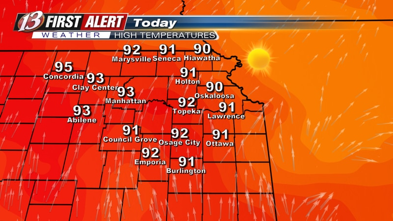 Forecast high temperatures today.