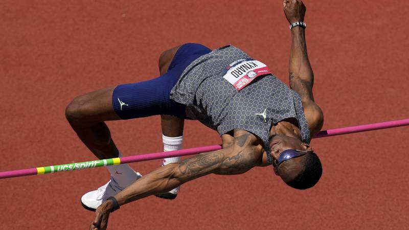 Erik Kynard competes during the prelims of the men's high jump at the U.S. Olympic Track and...
