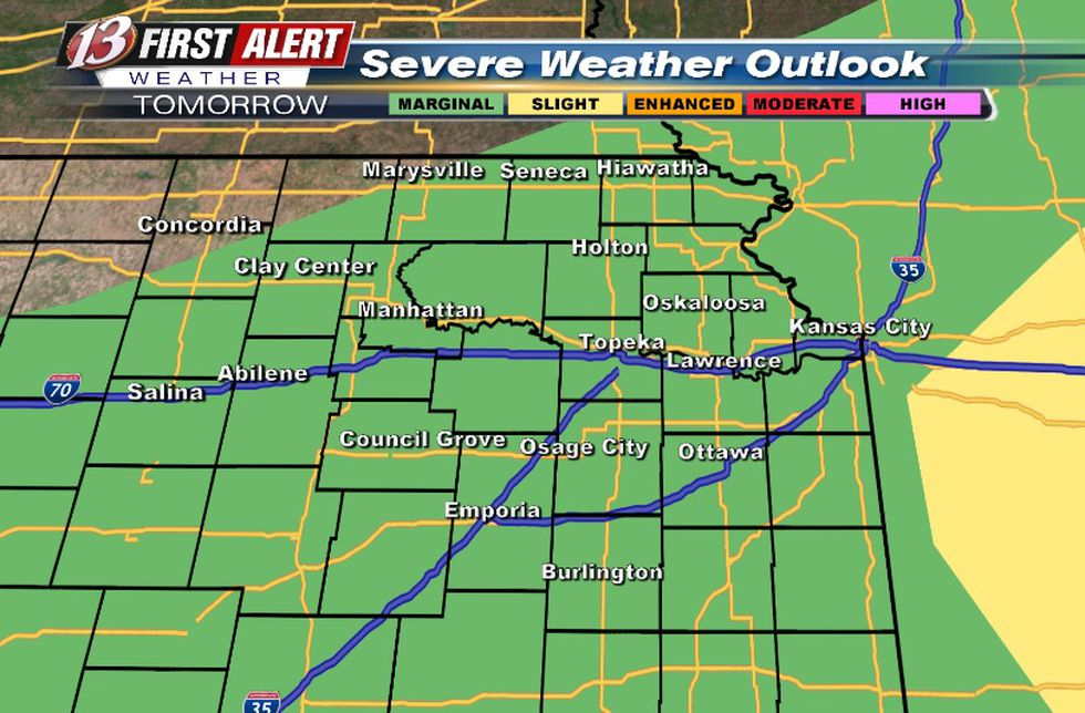 Hail/wind threat for any leftover storms in the morning (conditional risk)