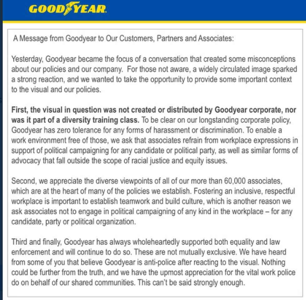 Goodyear has released a statement after President Trump tweeted saying boycott buying their...