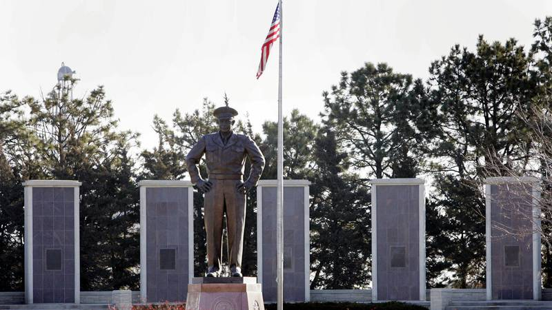 FILE - A statue of Gen. Dwight D. Eisenhower is seen on the grounds of the Eisenhower Center in...