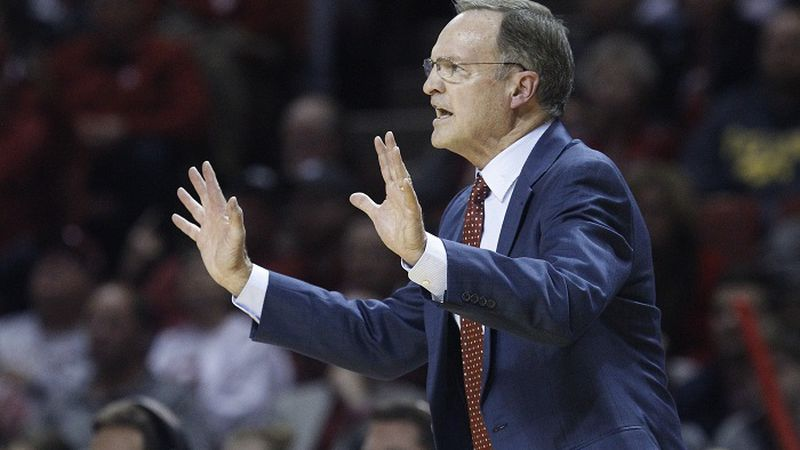 Oklahoma head coach Lon Kruger gestures in the first half of an NCAA college basketball game...