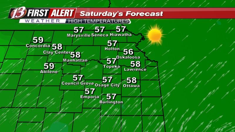 Forecast high temperatures Saturday.