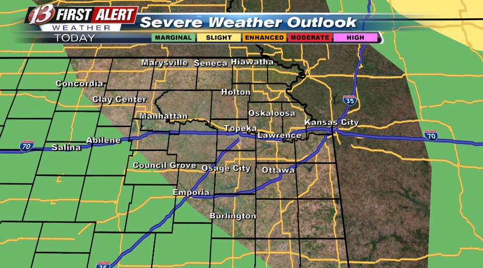 Hail/wind threat with storms mainly Thursday night