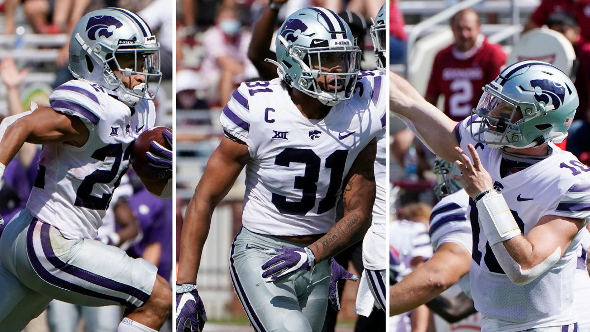 Kansas State's Deuce Vaughn, Jahron McPherson & Skylar Thompson each were awarded by the Big 12 conference following Saturday's upset victory over #3 Oklahoma (KWCH composite; all images AP Photos/Sue Ogrocki).
