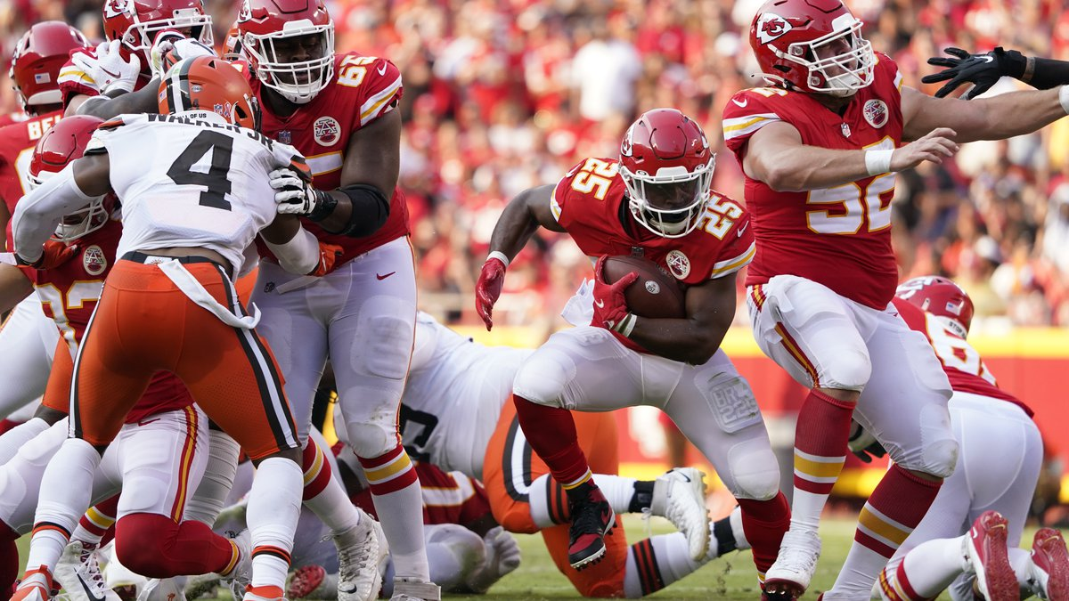 Kansas City Chiefs running back Clyde Edwards-Helaire (25) runs with the ball during the second...