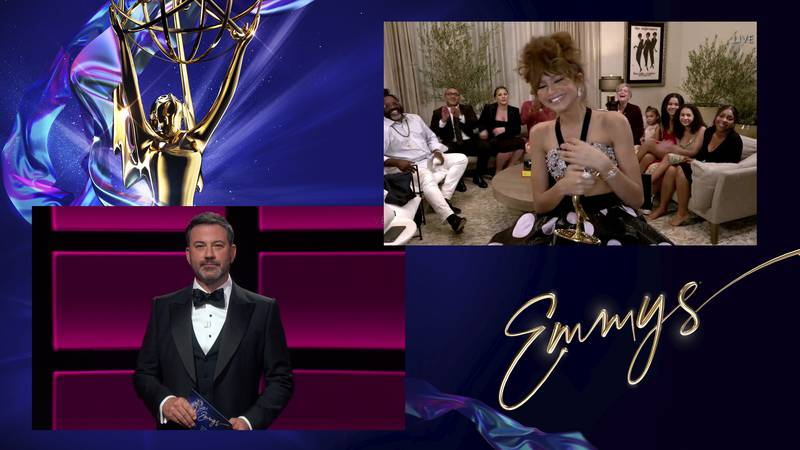 Jimmy Kimmel presents the Emmy for Outstanding Lead Actress in a Drama Series to Zendaya for...
