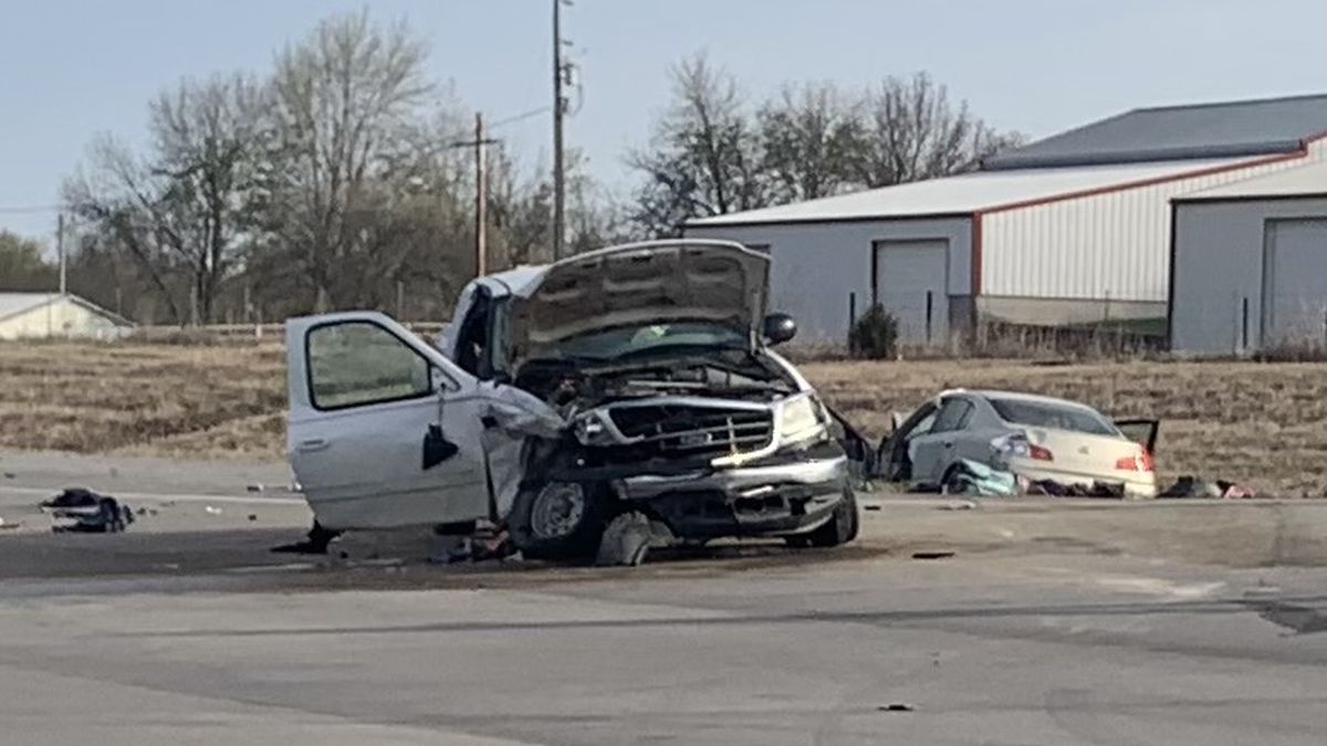 Four people were injured Tuesday in a two-vehicle crash in Jackson County, Kansas..