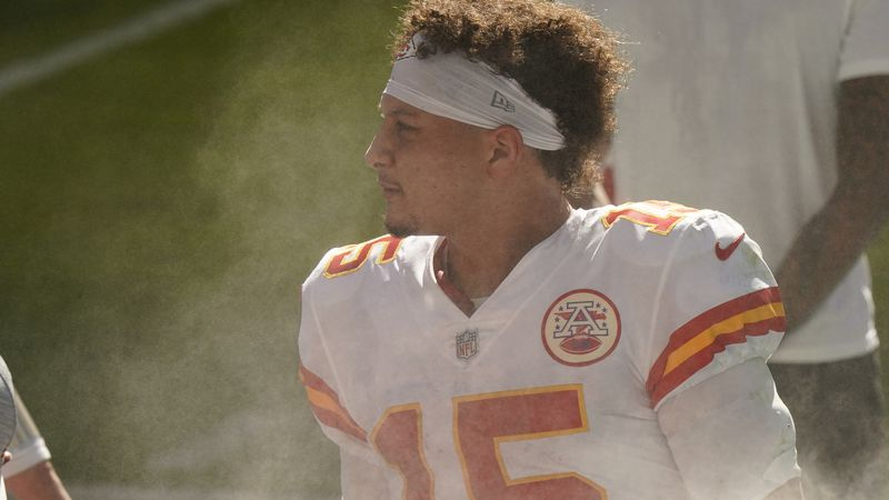 Kansas City Chiefs quarterback Patrick Mahomes (15) looks on the field during the first half of...