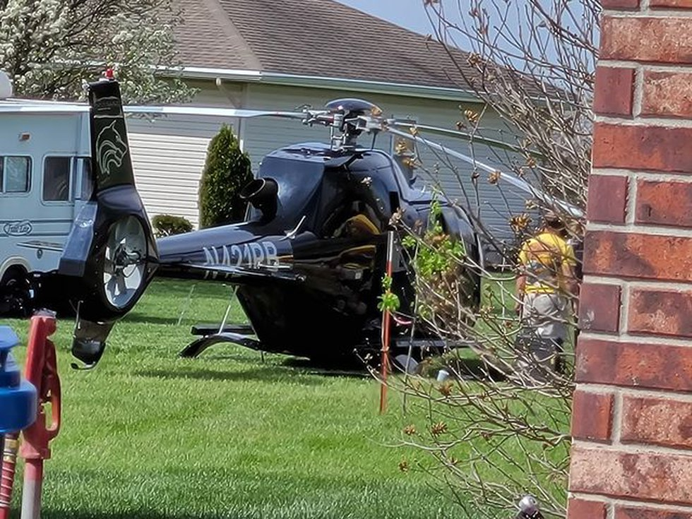 A Helicopter made an emergency landing in LeRoy on Friday morning.