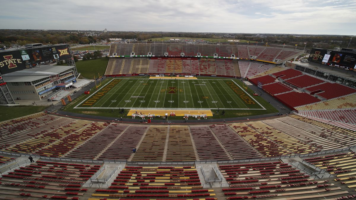 Jack Trice Stadium it set to host Oklahoma State against Iowa State for an NCAA college football game, Saturday, Oct. 26, 2019, in Ames, Iowa.