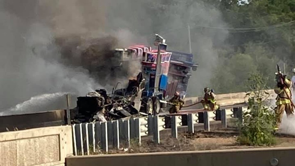A semi hauling a carnival ride caught fire during the morning commute Wednesday morning,...