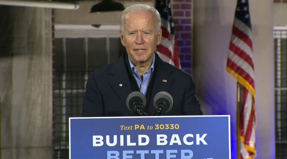 Democratic presidential candidate Joe Biden makes a campaign stop in Johnstown, Pa., on Wednesday. (Source: Pool)