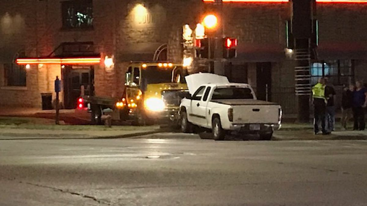 A truck and motorcycle were involved in a wreck at 21st and Topeka Blvd.