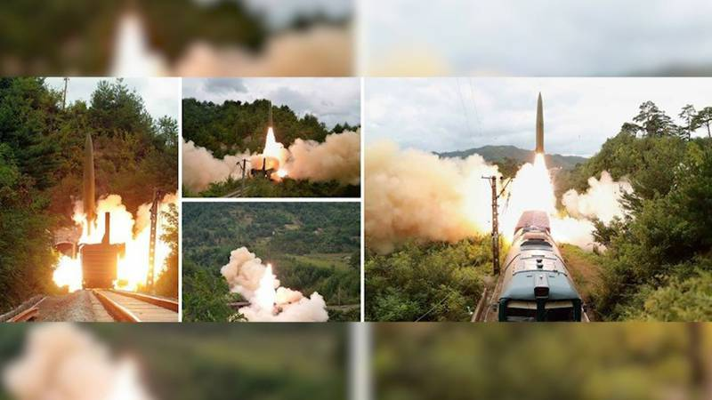 """The missiles fired by North Korea on Wednesday were launched during a drill of a """"railway-borne..."""