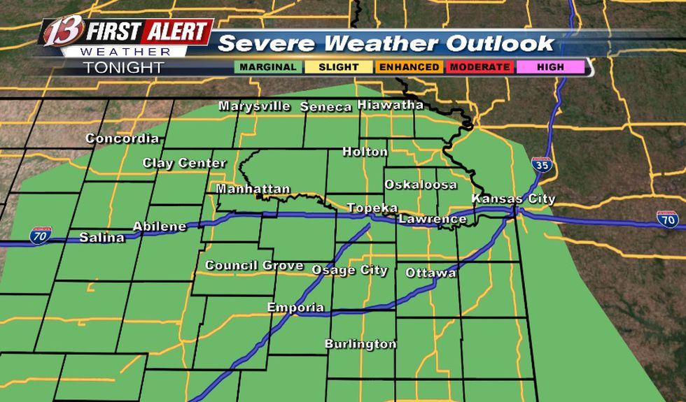 Hail/wind threat with storms tonight (after midnight)