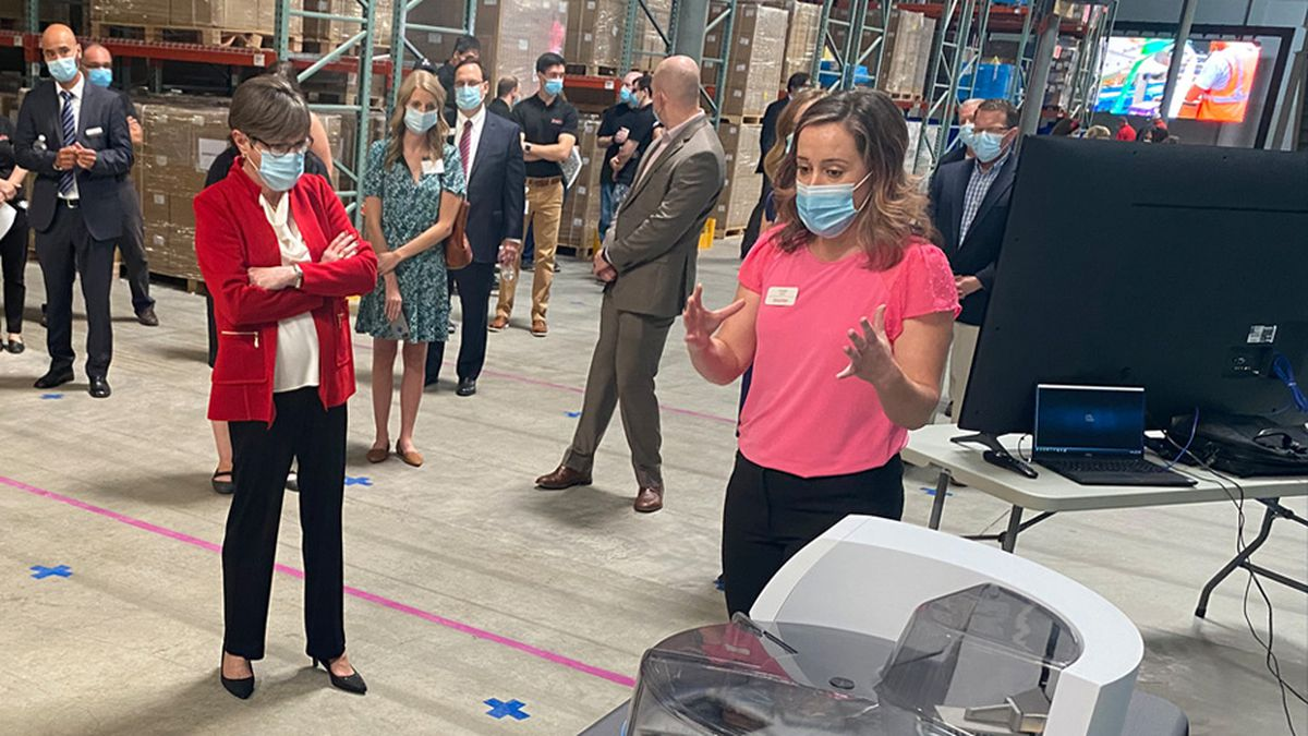 Governor Laura Kelly attended the Thermo Fisher Scientific ribbon-cutting and groundbreaking of its new Lenexa facility.