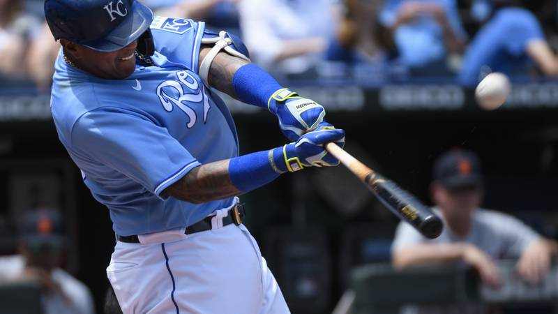 Kansas City Royals' Salvador Perez hits a two-run home run during the third inning of a...