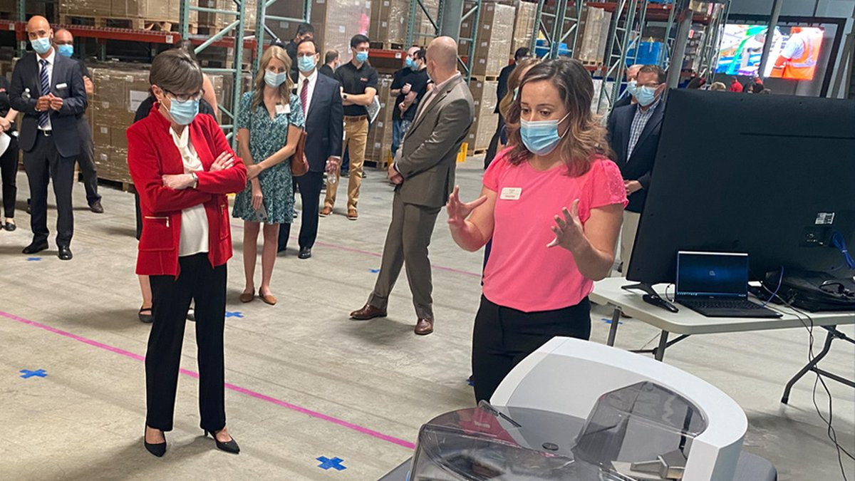 Governor Laura Kelly attended the Thermo Fisher Scientific ribbon-cutting and groundbreaking of...