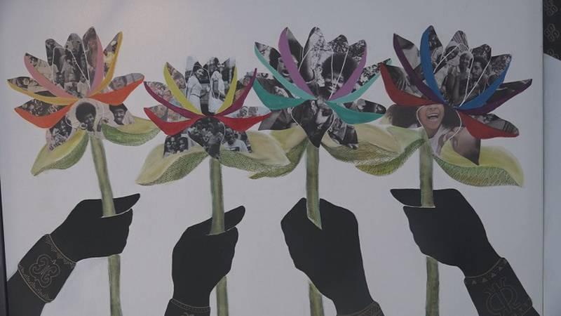 The work of Aisha Sanaa, the featured artist at the Aaron Douglas Art Fair