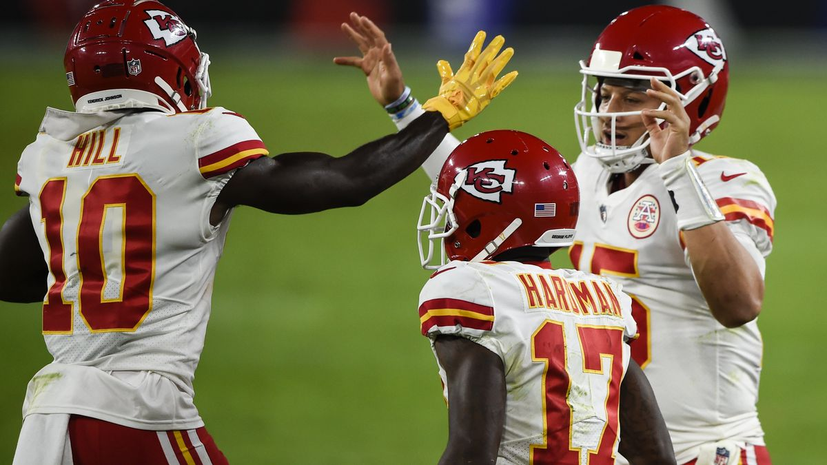 Kansas City Chiefs wide receiver Tyreek Hill (10) and quarterback Patrick Mahomes (15) celebrate after connecting for a touchdown with wide receiver Mecole Hardman (17) nearby during the first half of an NFL football game against the Baltimore Ravens, Monday, Sept. 28, 2020, in Baltimore. (AP Photo/Gail Burton)