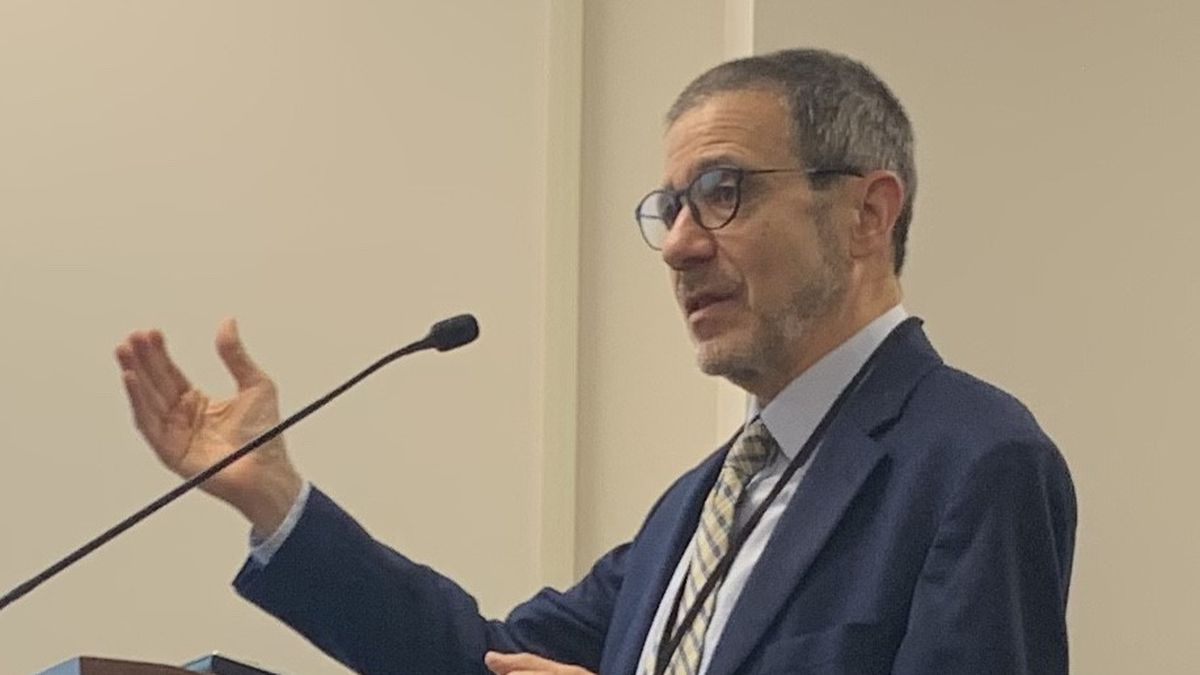 Shawnee County Health Officer Dr. Gianfranco Pezzino speaks at Thursday morning's Shawnee County Commission meeting.