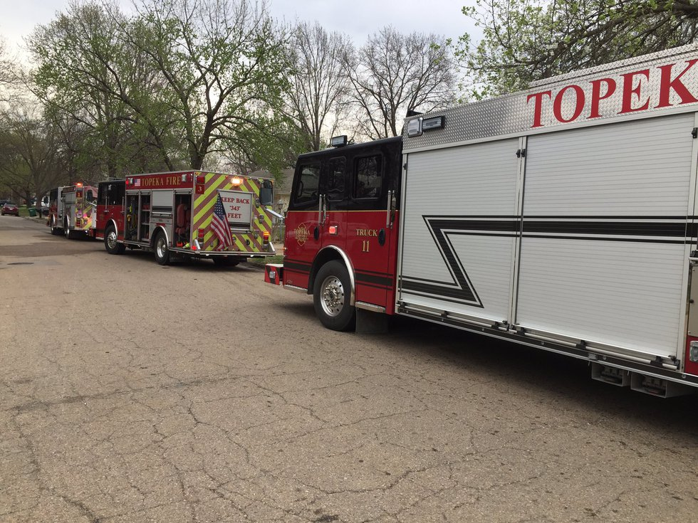 A man was burned in a garage fire in North Topeka Tuesday afternoon.
