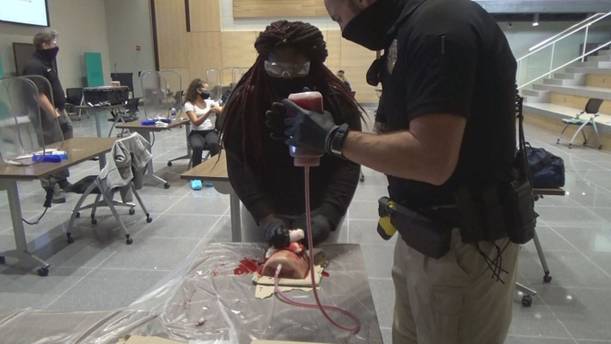 Students learn how to stop bleeding in emergency situations