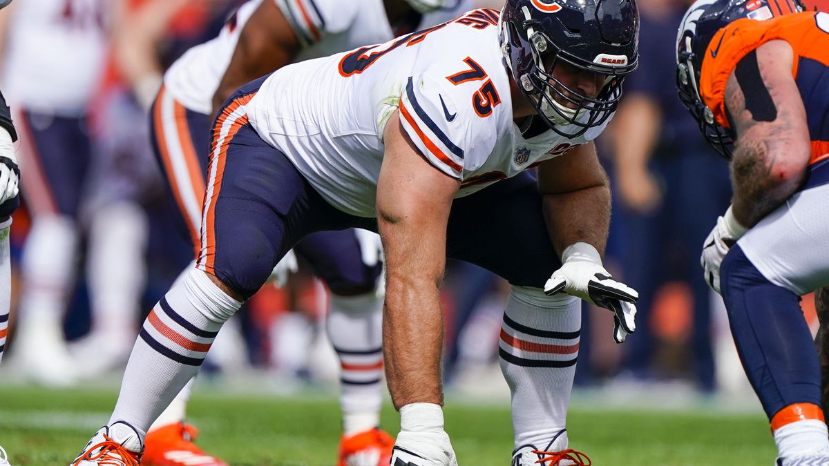 File-This Sept. 15, 2019, file photo shows Chicago Bears offensive guard Kyle Long lining up...