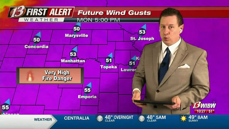 Warm & Extremely Windy Monday