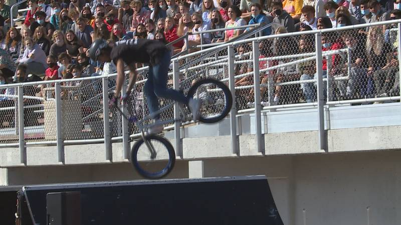 The Action Sports Association High School Tour spoke to Shawnee Heights HS students on ways to...